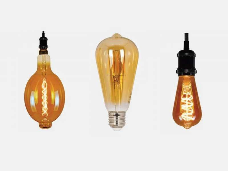 Декоративни LED лампи с гъвкав филамент и кехлибарена или опушена стъклена колба